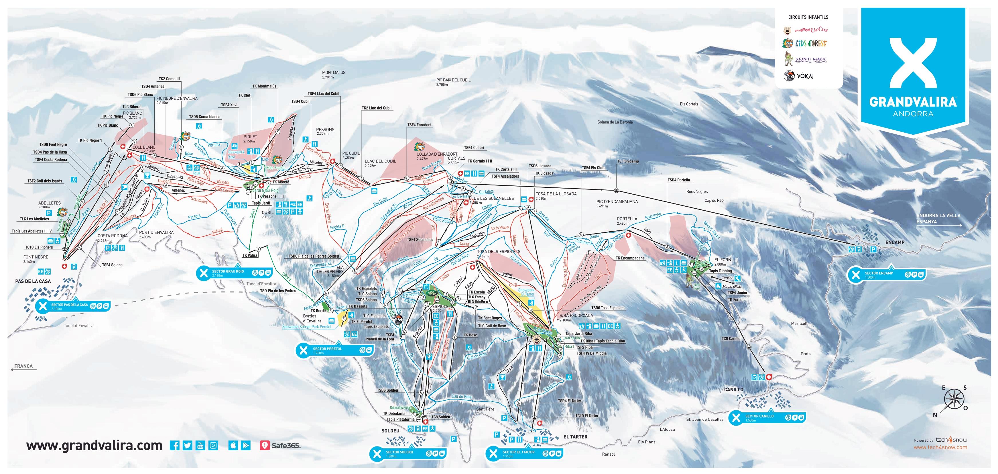 mapa pistas Grandvalira