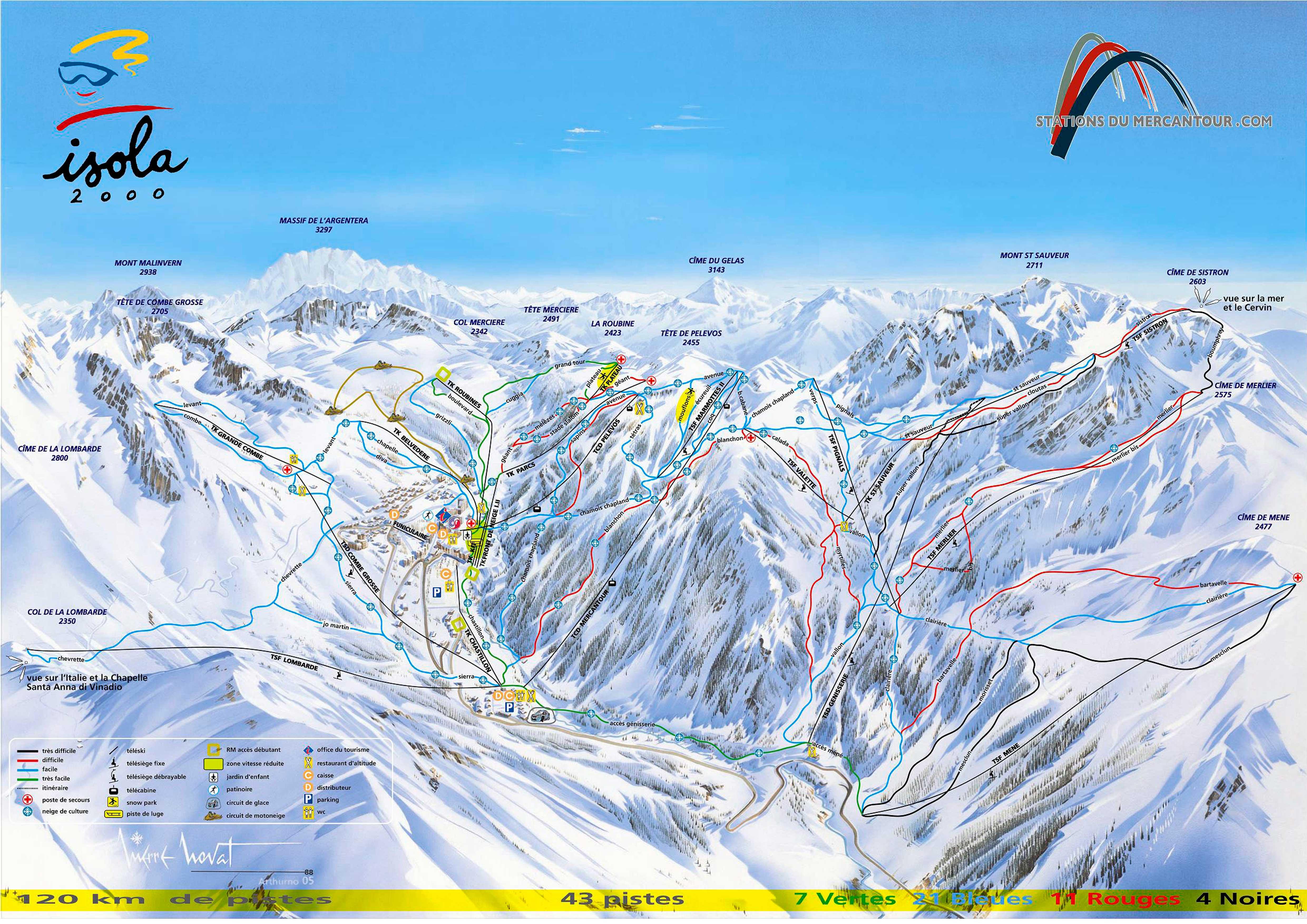 mapa pistas Isola 2000 + Auron