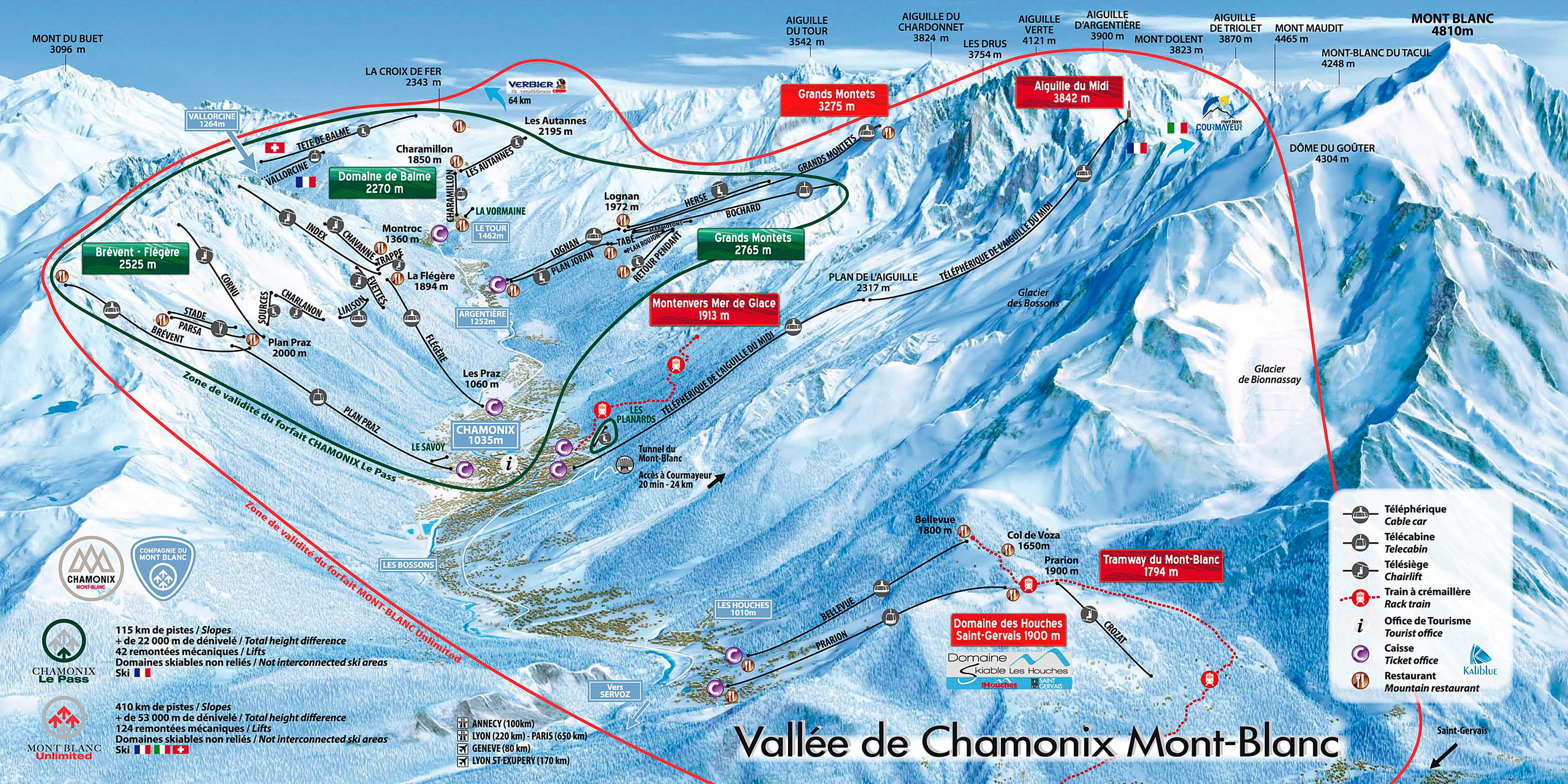 mapa pistas Chamonix Montblanc Unlimited