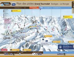 Karte des Skigebiets Grand Tourmalet und La Mongie