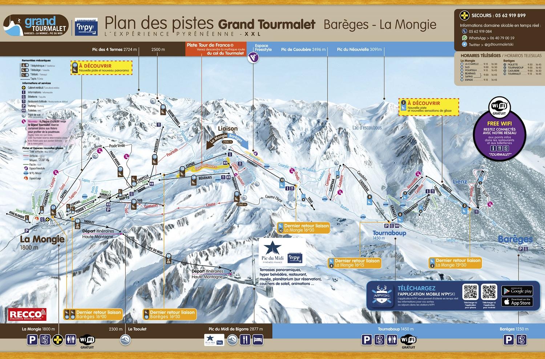 mapa pistas Grand Tourmalet & La Mongie