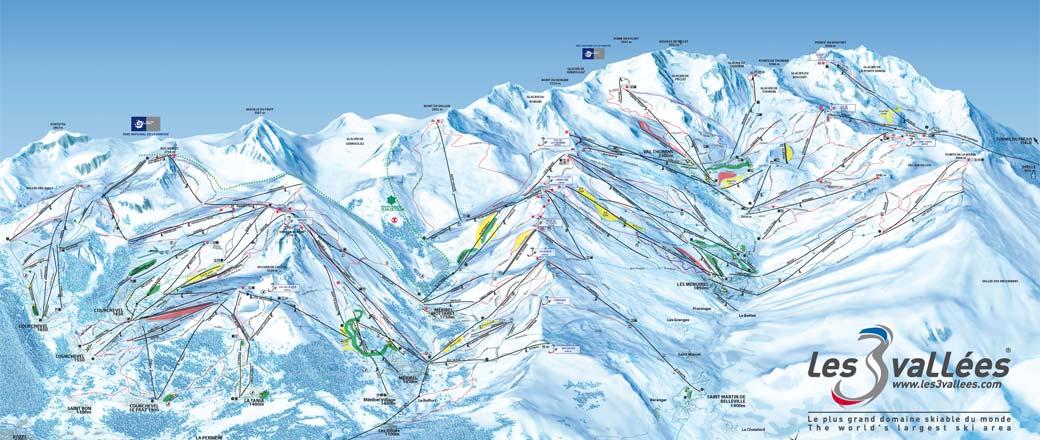 mapa pistas Les 3 Vallées