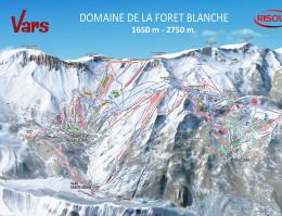 Map of the ski resort Vars + Risoul  (zona Vars)