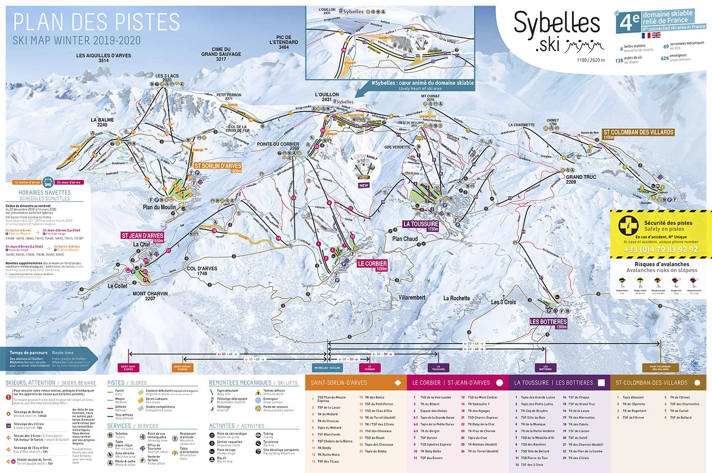 mapa pistas Sybelles  (Sector Toussuire & Bottières)