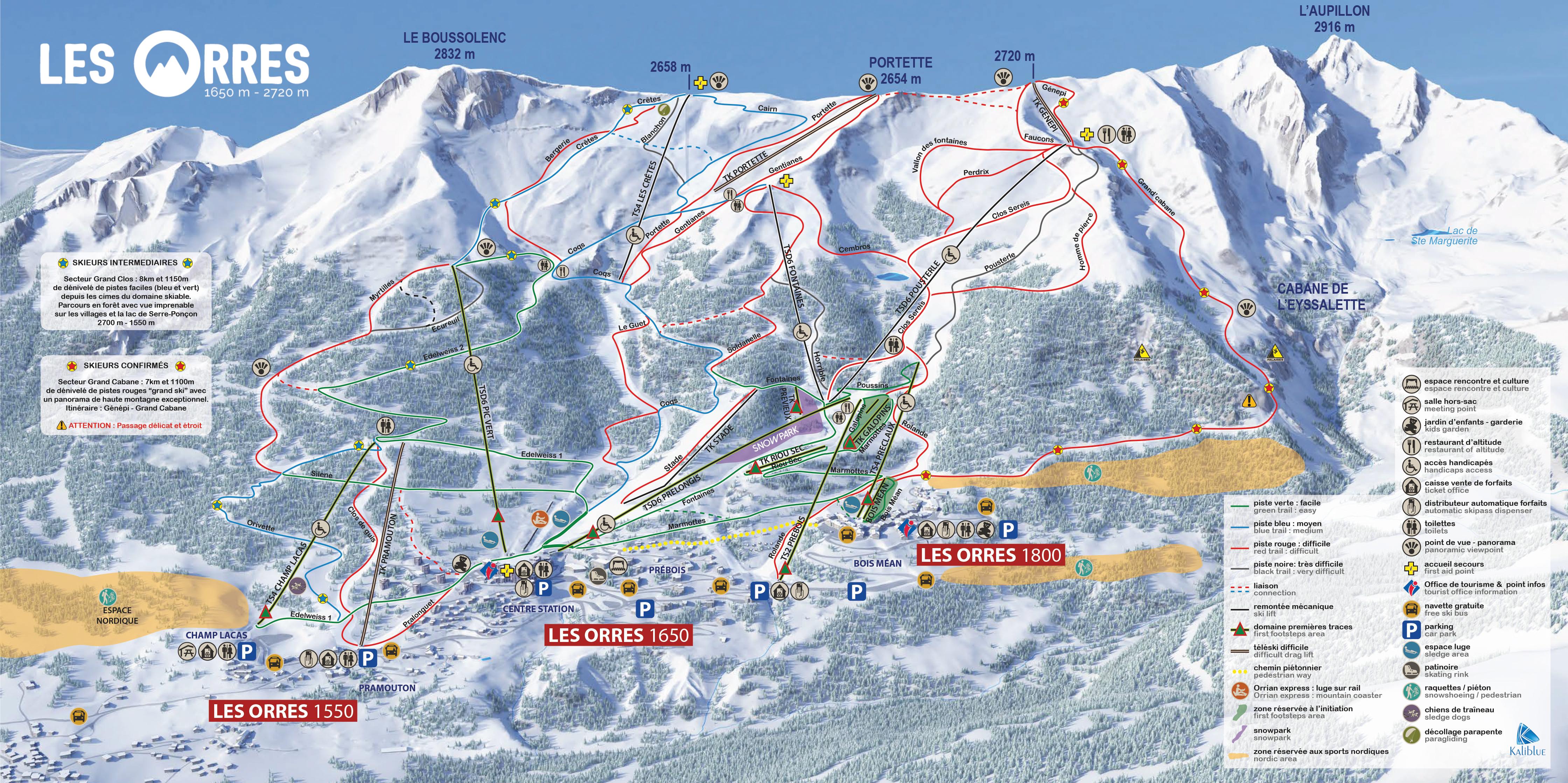 mapa pistas Les Orres