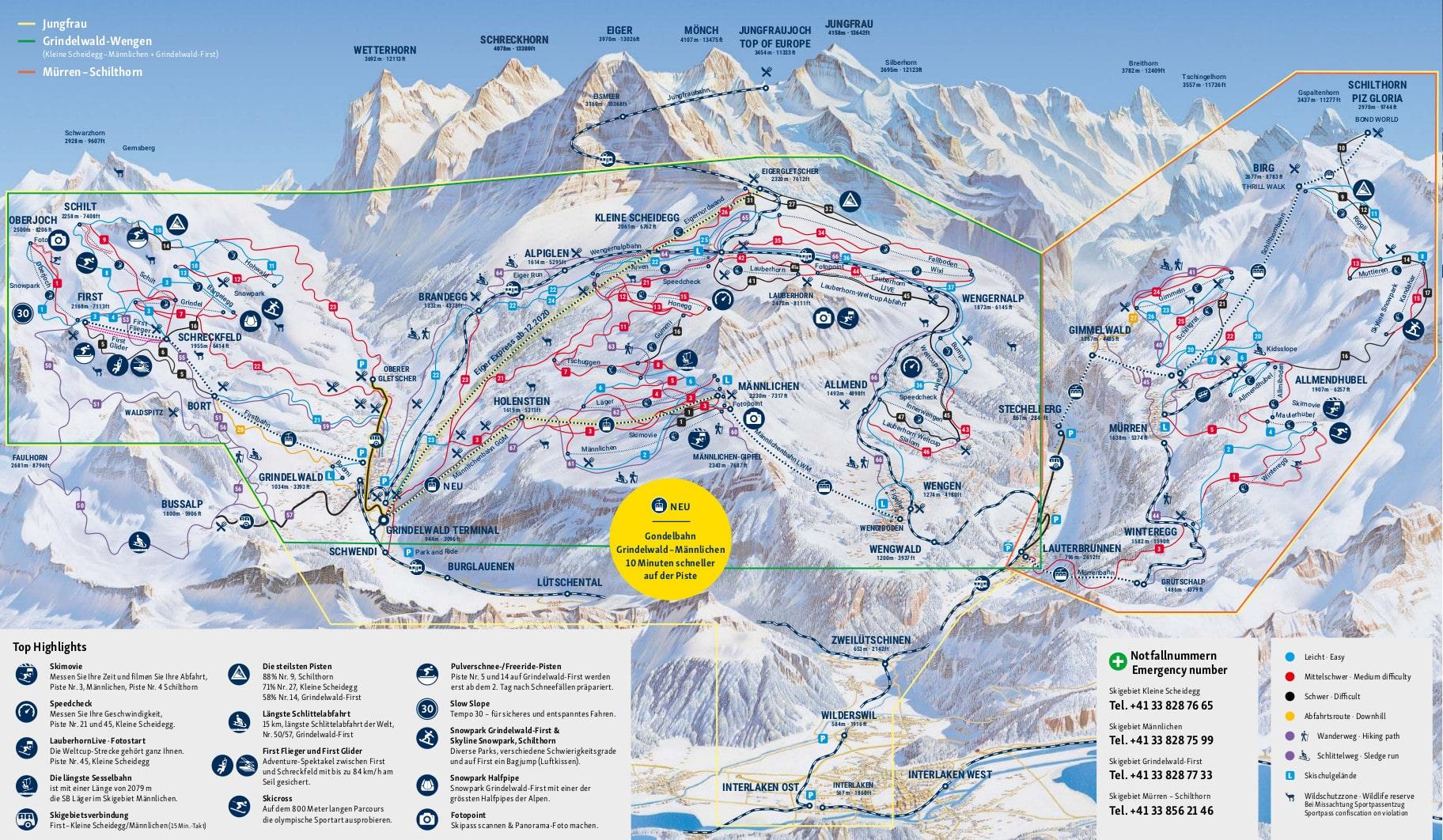 mapa pistas Grindelwald + Wengen
