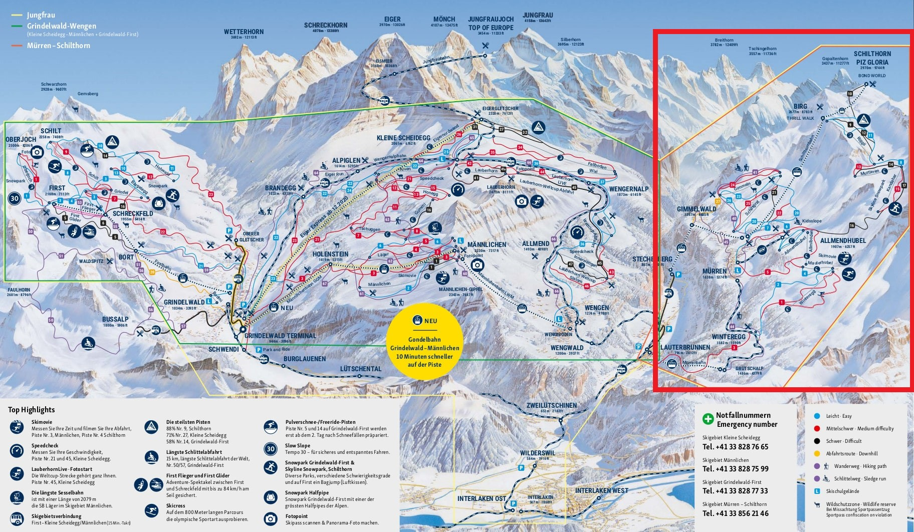 mapa pistas Mürren + Schilthorn