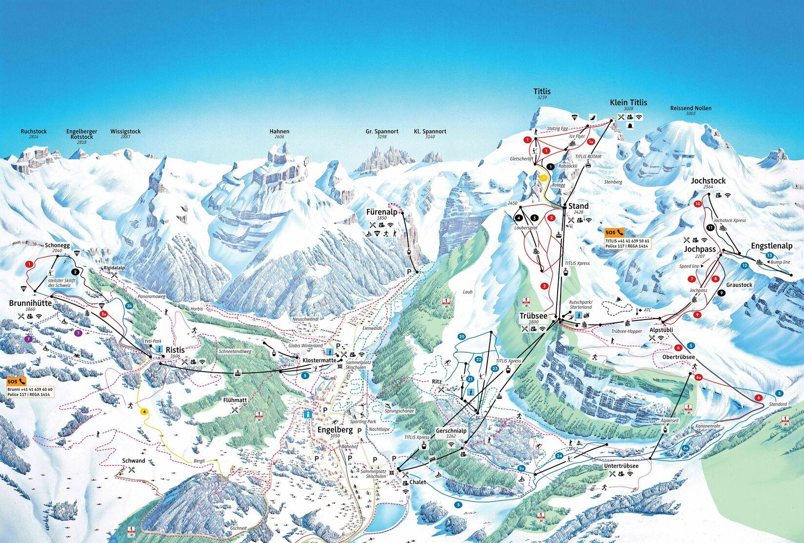 mapa pistas Engelberg (Titlis)