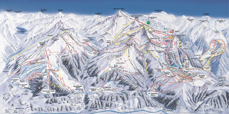 mapa pistas Les 4 Vallées (Verbier, Nendaz, Veysonnaz y Thyon)