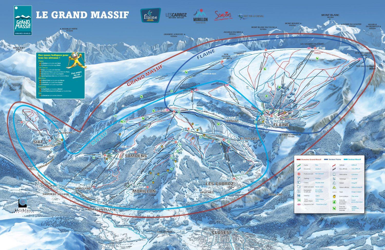 mapa pistas Le Grand Massif (Flaine, Les Carroz, Morillon, Samoens, Sixt)