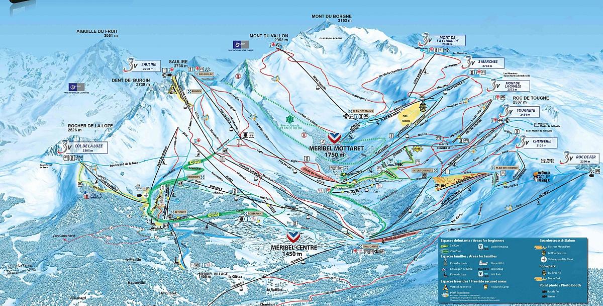 mapa pistas Meribel-Alpina