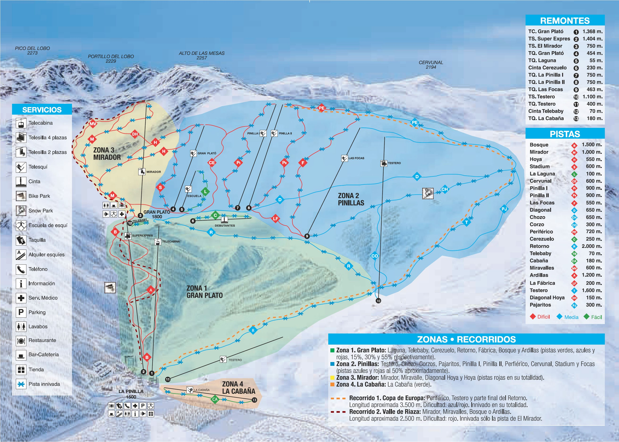 mapa pistas La Pinilla