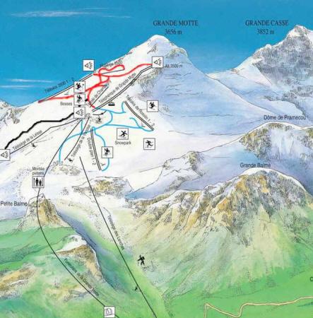 mapa pistas Tignes en verano