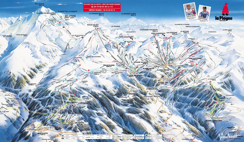 mapa pistas La Plagne (Paradiski)