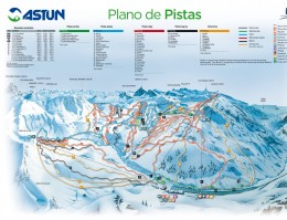 Map of the ski resort Astun and Candanchú (Pyrenees)
