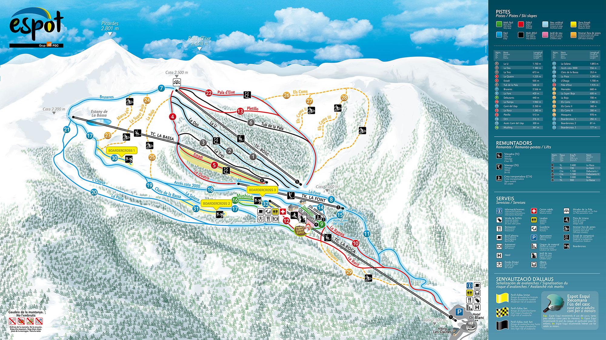 mapa pistas Espot Esquí