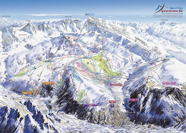 mapa pistas Alpe d'Huez