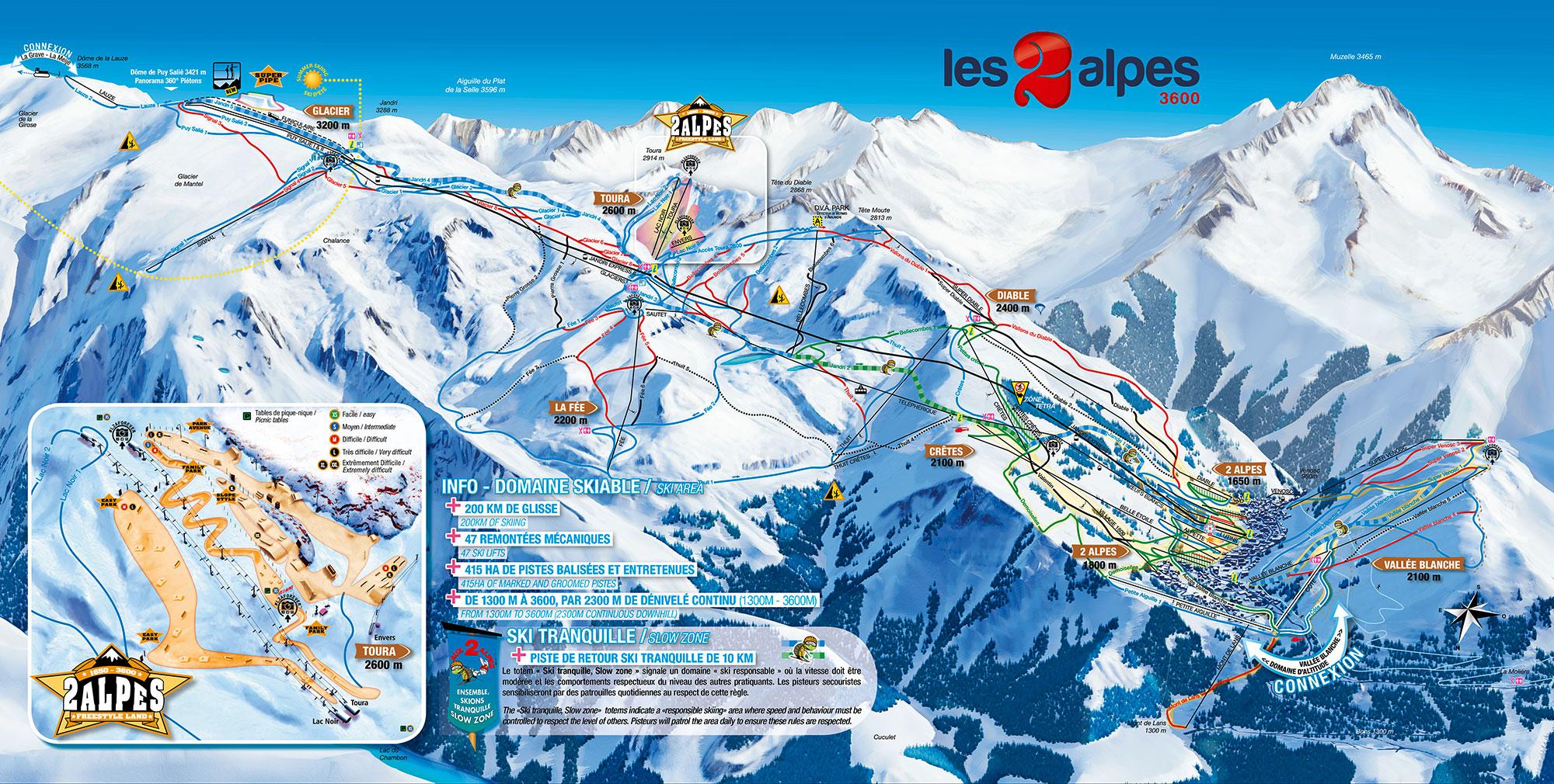 mapa pistas Les 2 Alpes