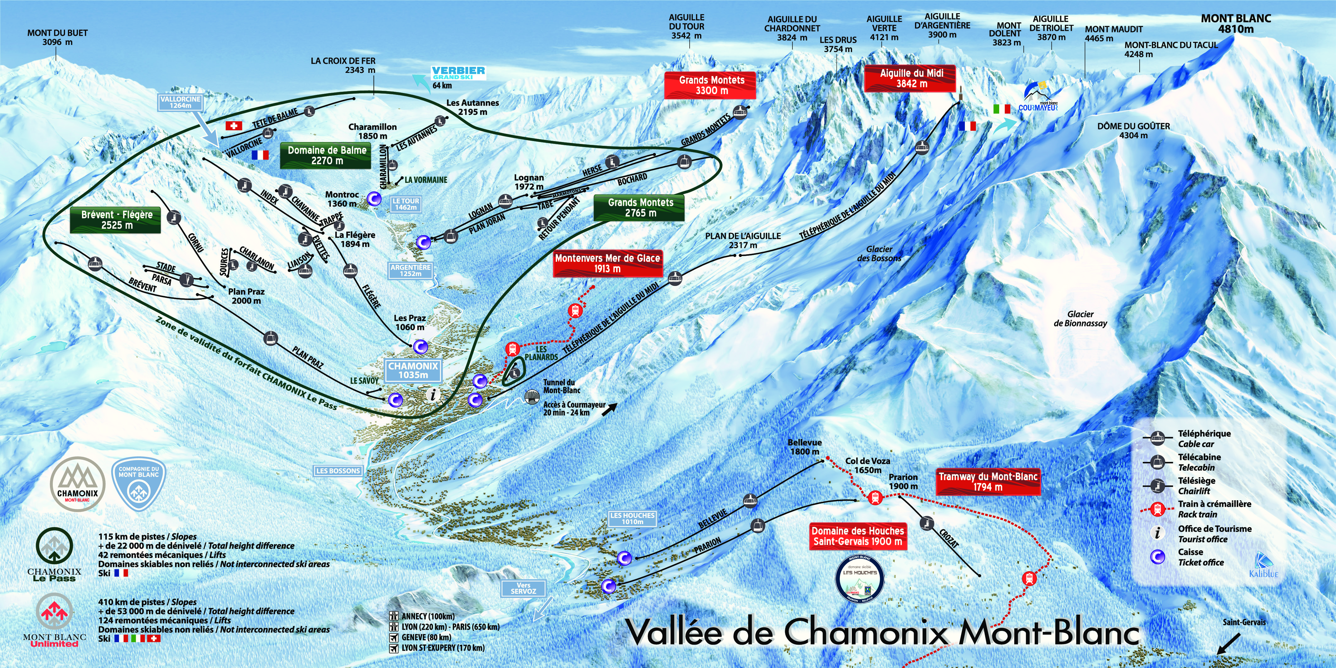 mapa pistas Chamonix Le Pass
