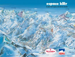 Map of the ski resort Val d'Isère and Tignes (Val d'Isere Ski Area)