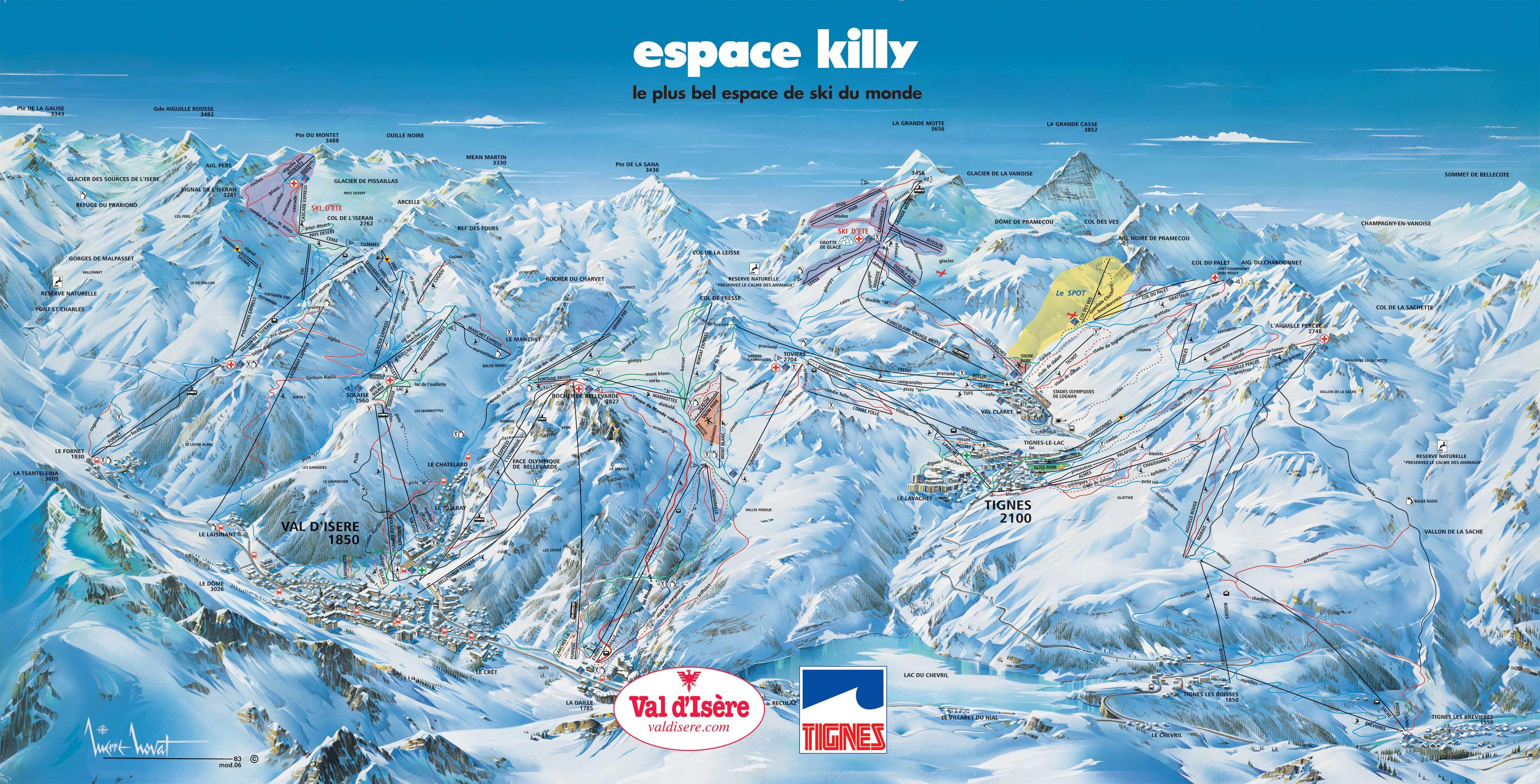 mapa pistas Val d'Isère y Tignes (sector Val d'Isere)